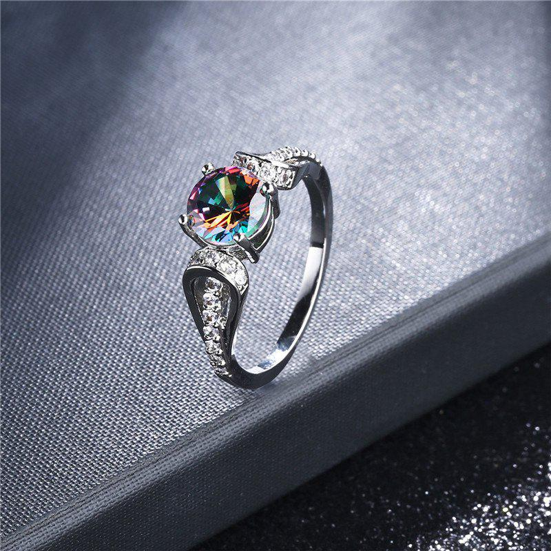 Sparkly Faux Gem Crystal Round Ring - SILVER 9
