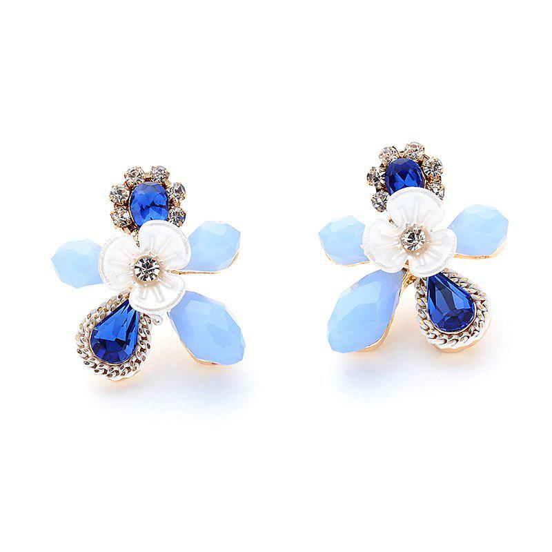 Rhinestoned Faux Sapphire Flower Stud Earrings - BLUE
