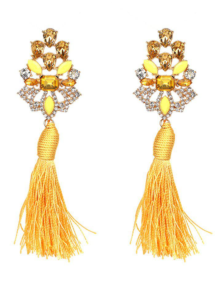 Vintage Faux Crystal Rhinestone Tassel Earrings - YELLOW
