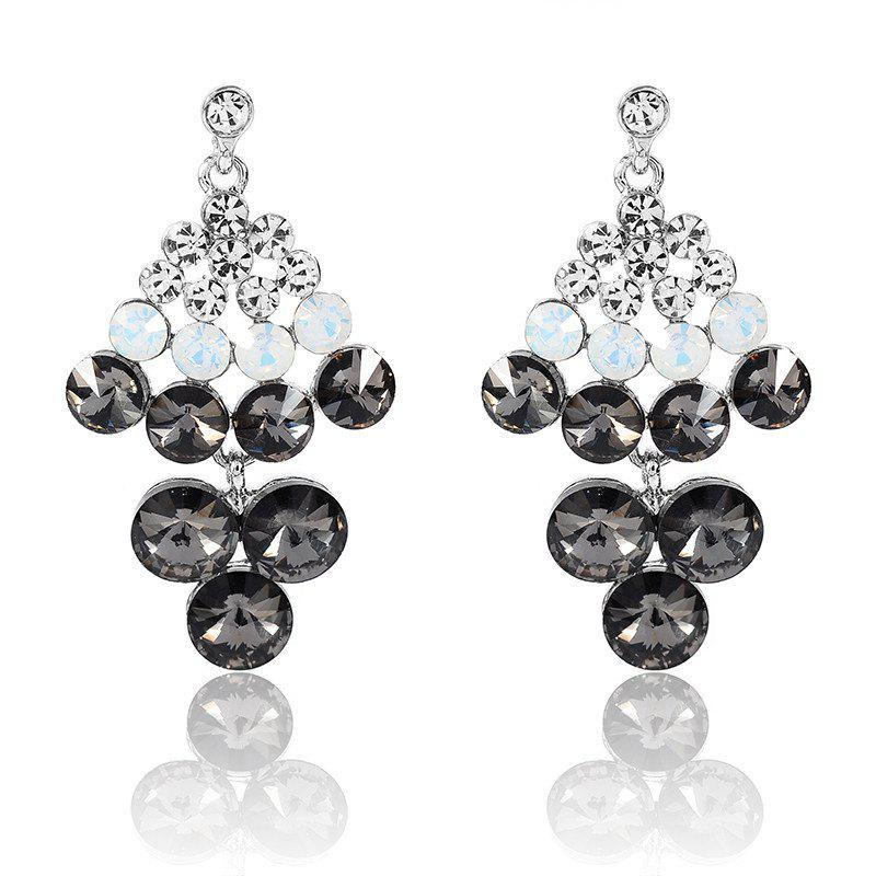 Rhinestoned Geometric Chandelier Drop Earrings - SILVER