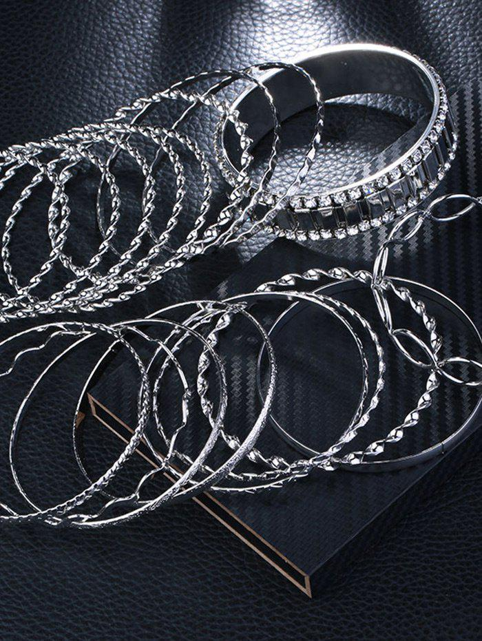 Rhinestone Alloy Circle Bangle Bracelet Set - SILVER