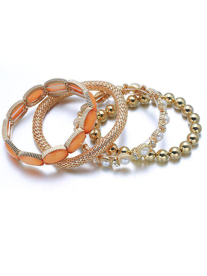 4PCS Faux Pearl Elastic Beaded Bracelet Set - GOLDEN