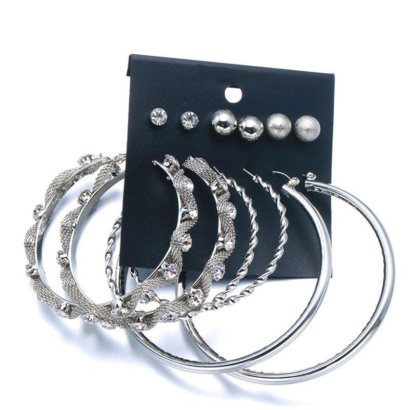 Punk Rhinestone Ball Circle Earring Set - SILVER