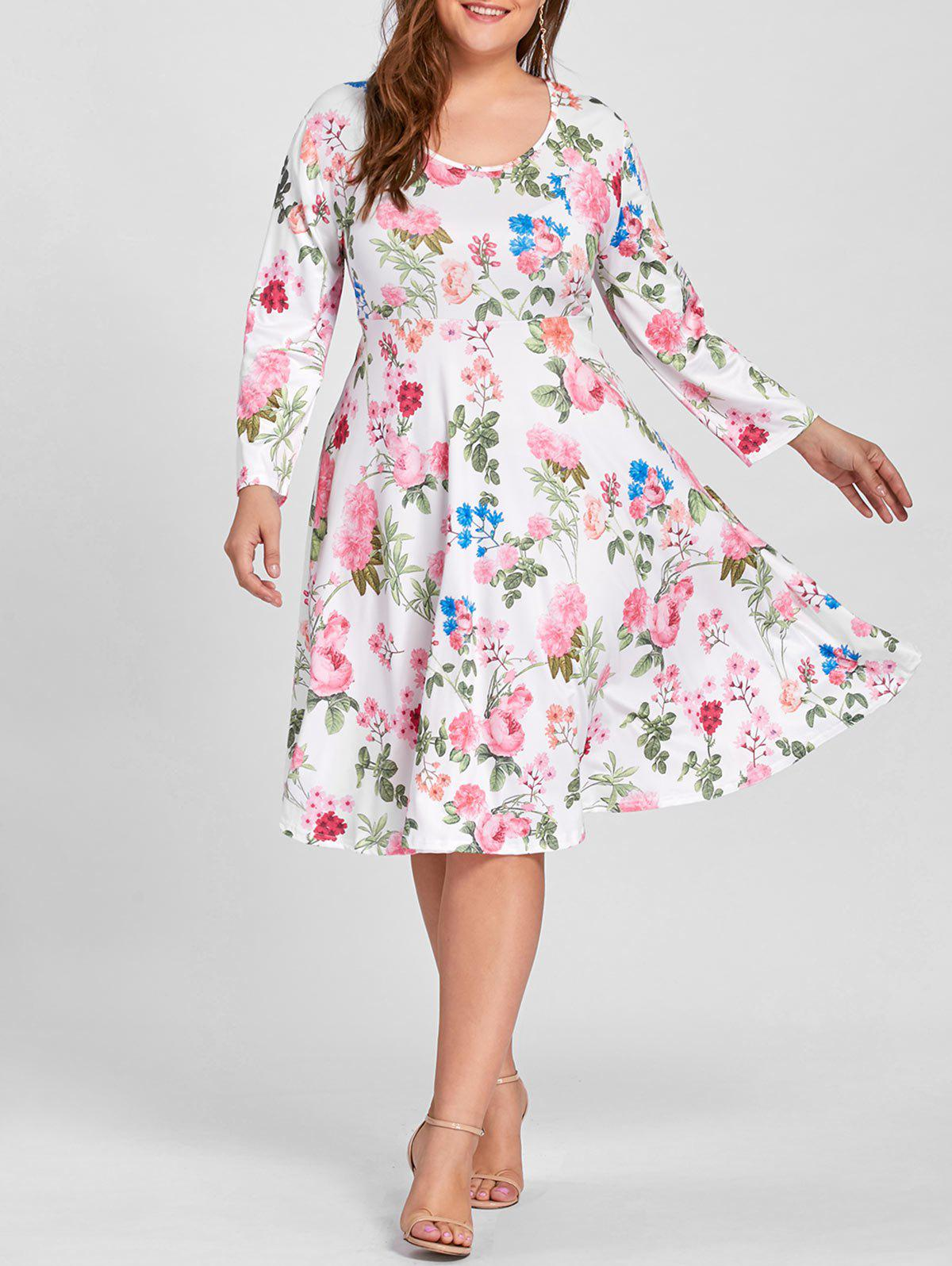 Floral Print Empire Waist Plus Size Dress - WHITE XL