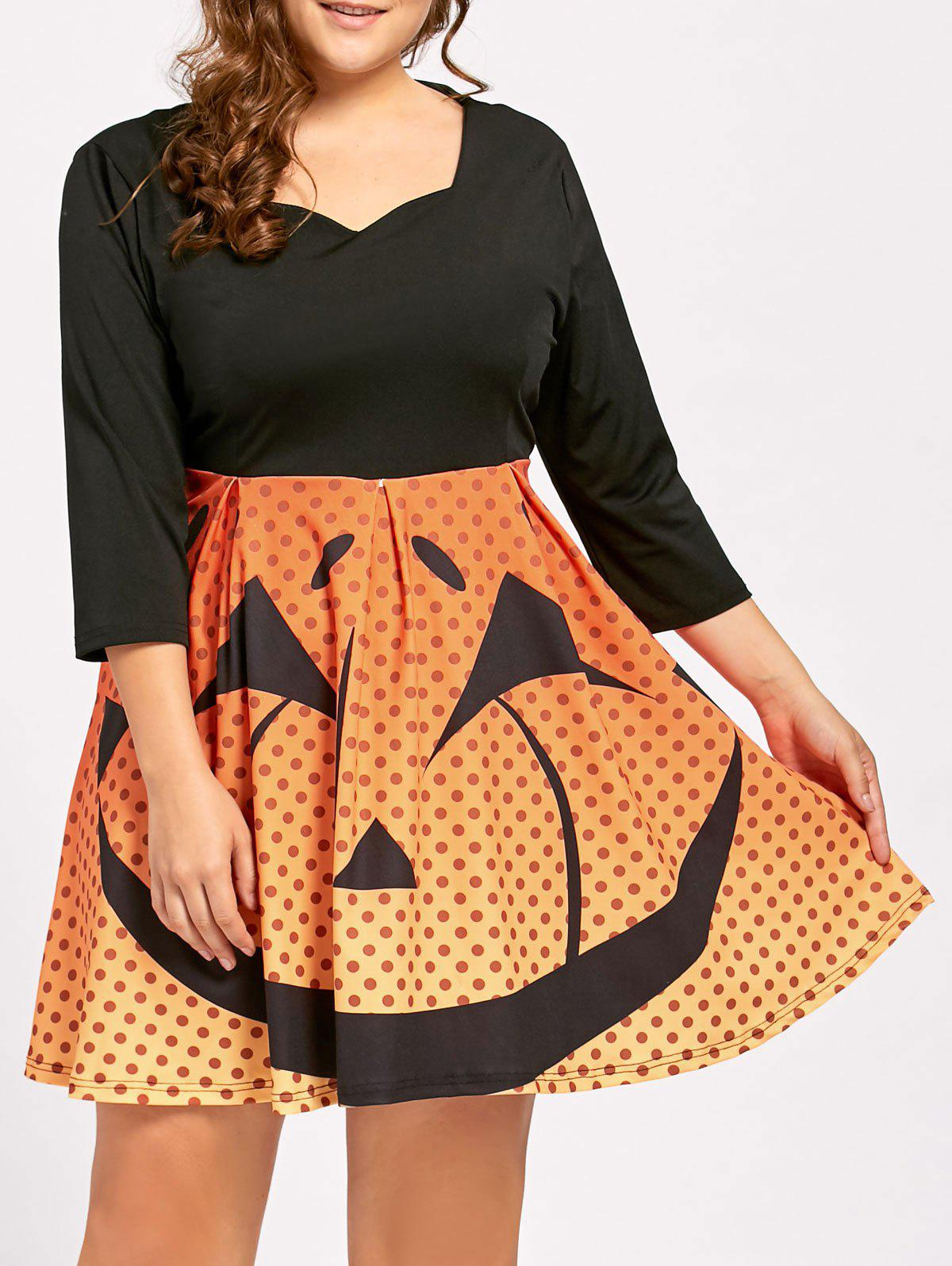 Plus Size Halloween Pumpkin Face Vintage Party Dress - BLACK 3XL