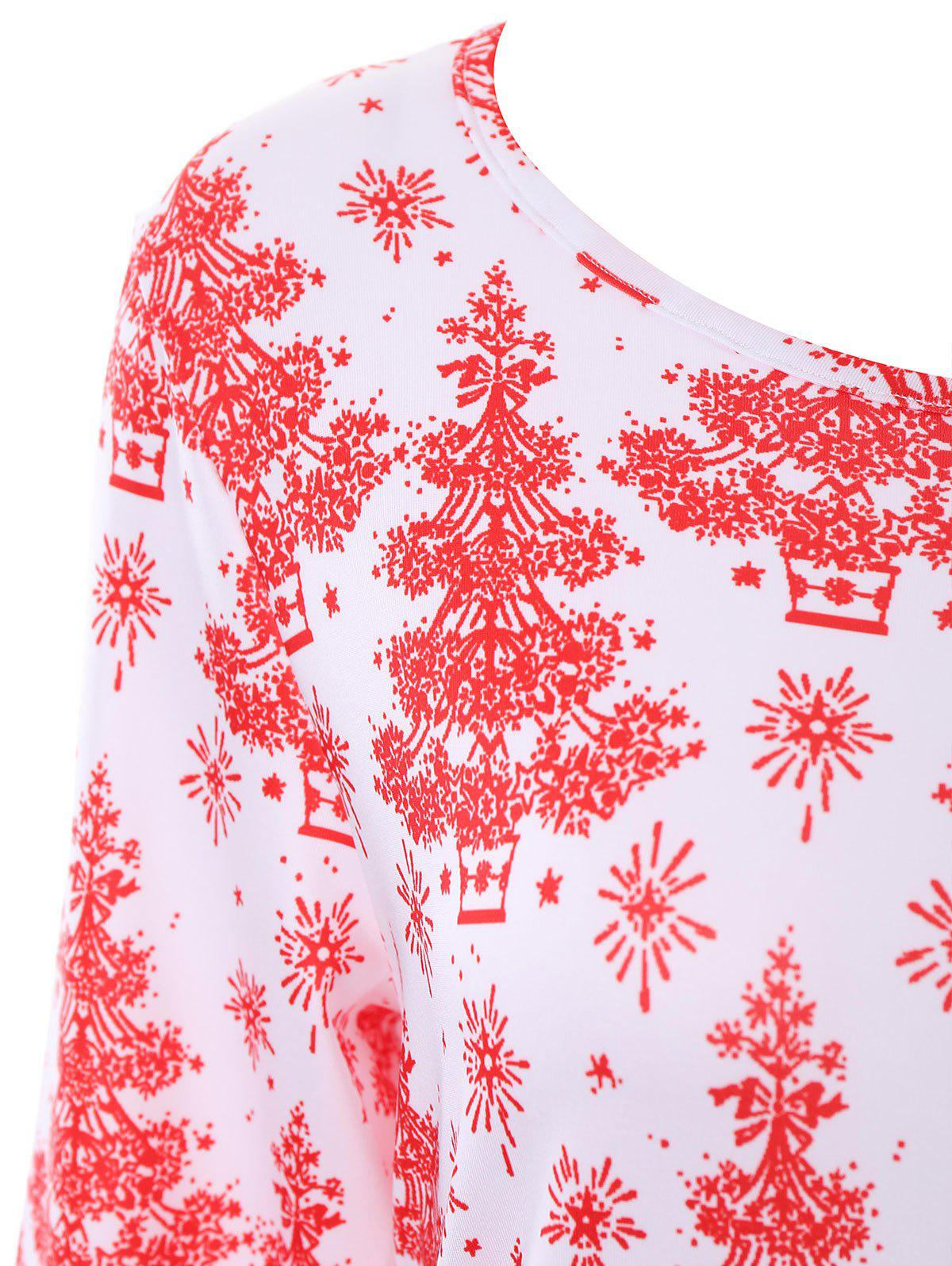 Plus Size Christmas Tree Printed Dress with Sleeves - WHITE 3XL