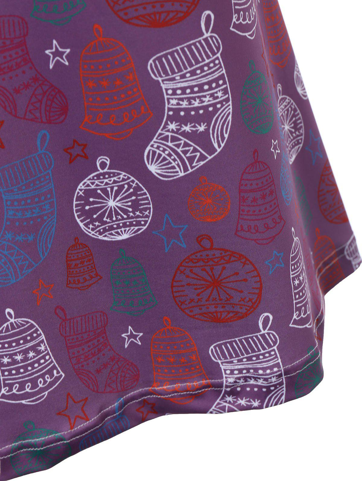 Plus Size Christmas Stocking Printed Dress - PURPLE 4XL