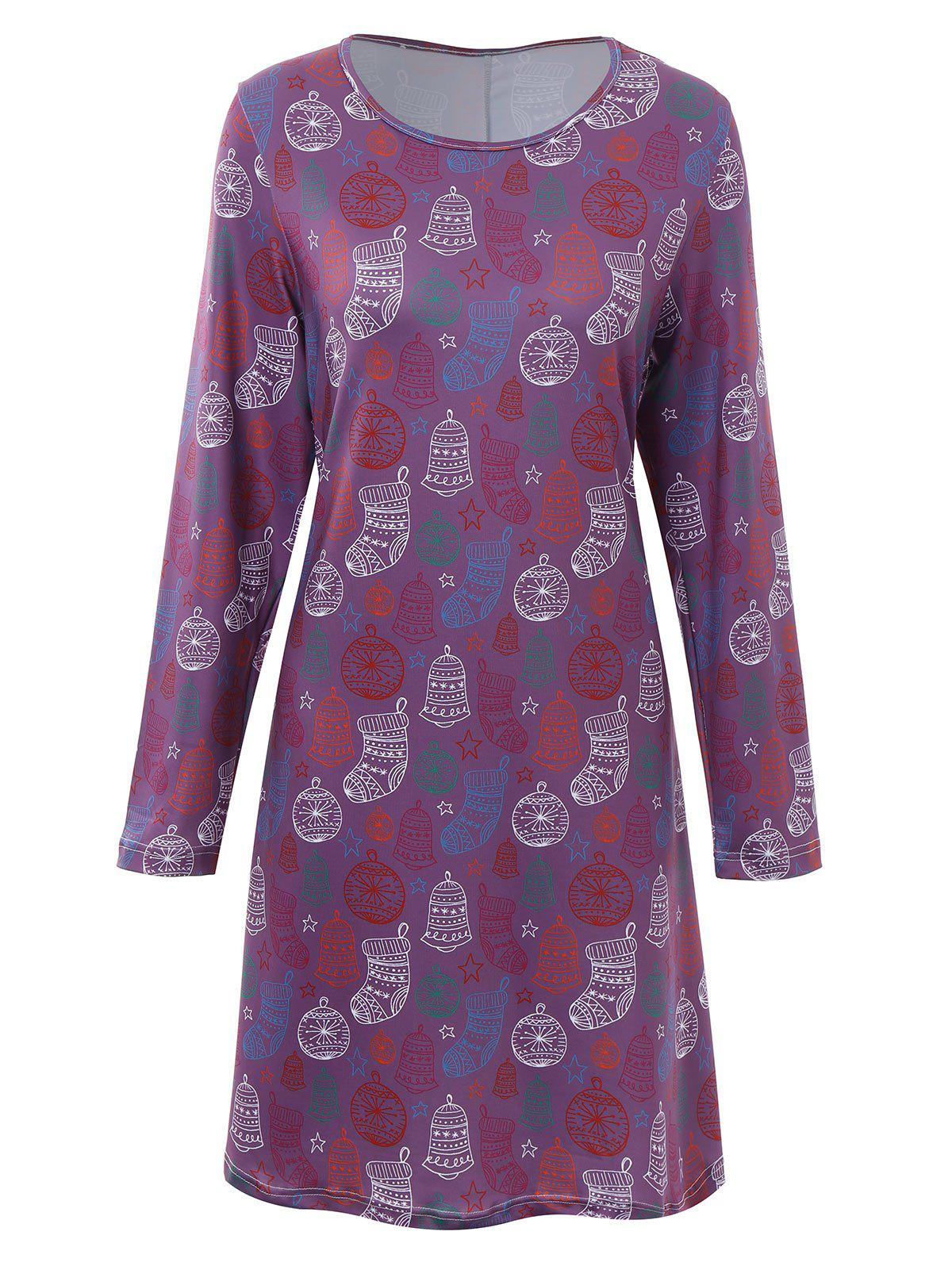 Plus Size Christmas Stocking Printed Dress - PURPLE 3XL