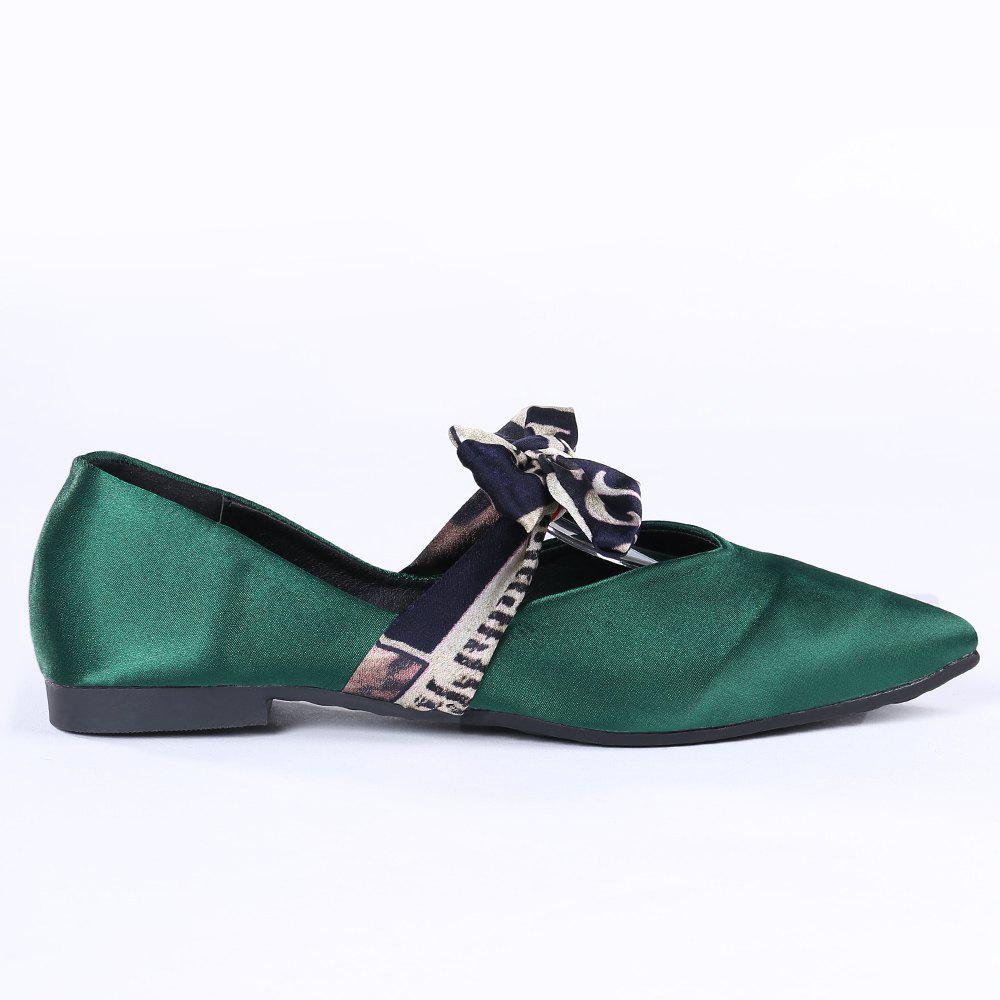 Satin Bowknot Flat Shoes - GREEN 37