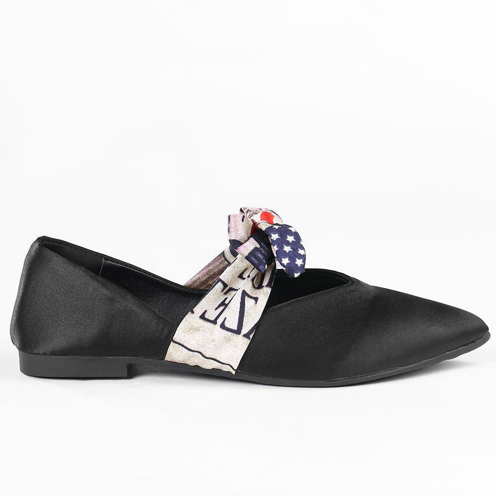 Satin Bowknot Flat Shoes - BLACK 35