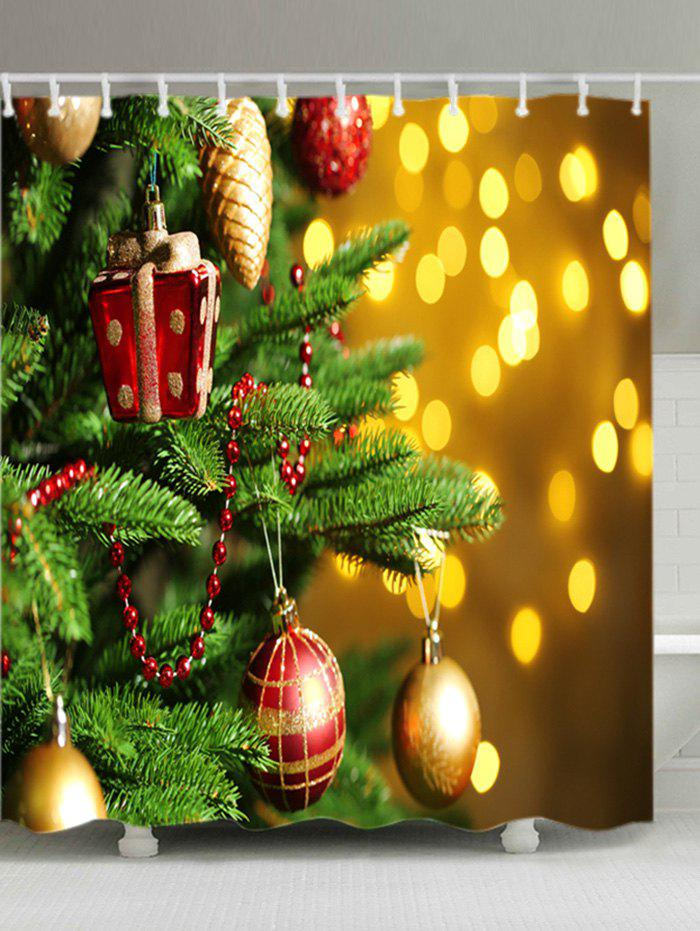 Christmas Tree Baubles Print Waterproof Bathroom Shower Curtain - COLORMIX W71 INCH * L79 INCH