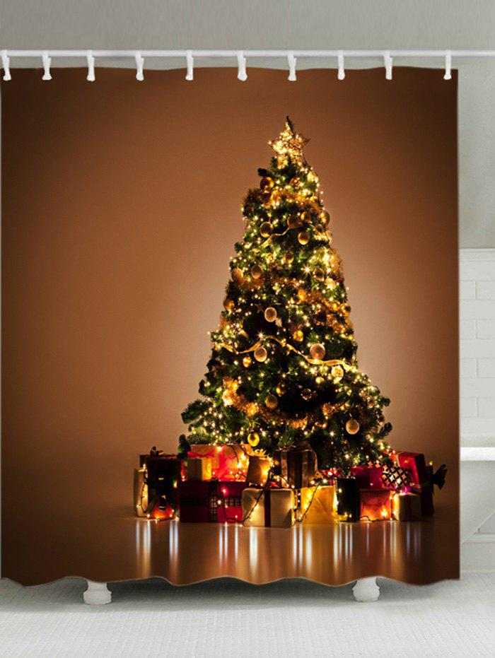 Christmas Tree Gifts Print Waterproof Bathroom Shower Curtain - GOLD BROWN W59 INCH * L71 INCH