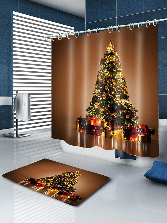 Christmas Tree Gifts Print Waterproof Bathroom Shower Curtain - GOLD BROWN W71 INCH * L79 INCH