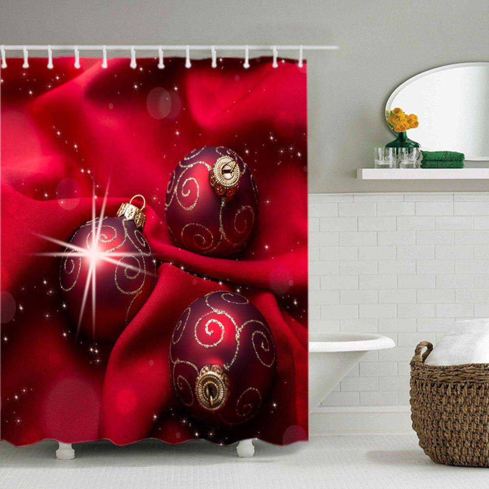 Christmas Cloth Baubles Print Waterproof Bathroom Shower Curtain - RED W71 INCH * L71 INCH