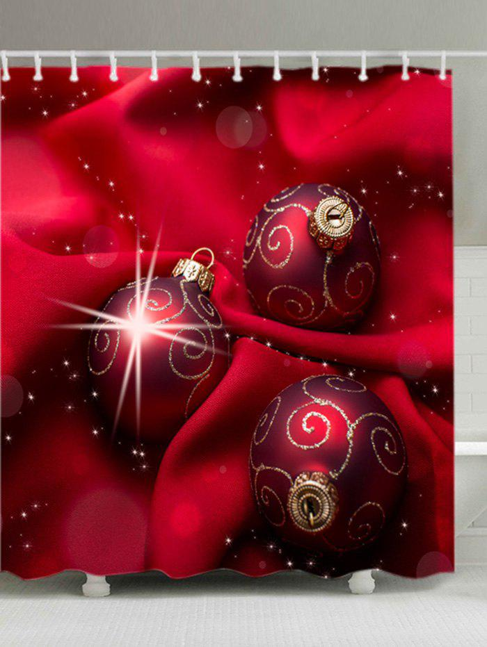 Christmas Cloth Baubles Print Waterproof Bathroom Shower Curtain - RED W71 INCH * L79 INCH