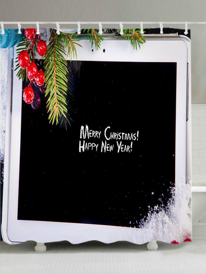 Christmas Tablet Computer Print Waterproof Bathroom Shower Curtain - BLACK W59 INCH * L71 INCH