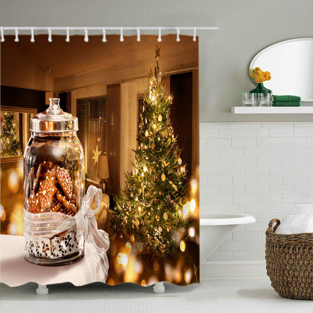 Christmas Tree Biscuits Print Waterproof Bathroom Shower Curtain - COLORMIX W71 INCH * L79 INCH