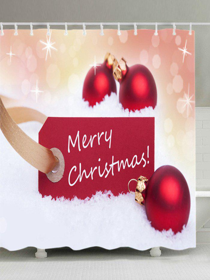 Merry Christmas Baubles Print Waterproof Bathroom Shower Curtain - RED W71 INCH * L71 INCH