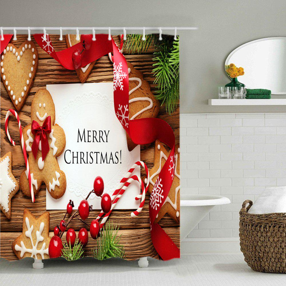 Christmas Cookies Print Waterproof Bathroom Shower Curtain - COLORMIX W71 INCH * L79 INCH