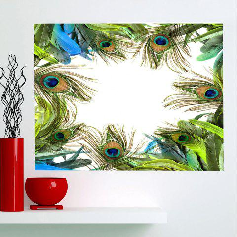 Multifunction Peacock Feathers Printed Waterproof Wall Art Painting - GREEN 1PC:24*47 INCH( NO FRAME )