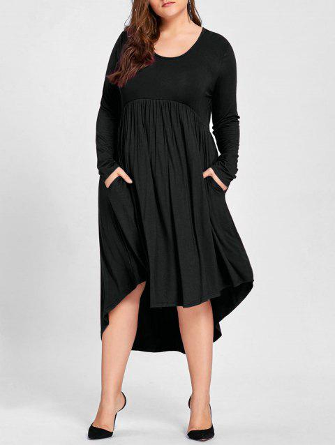 Limited Offer 2018 Plus Size High Low T Shirt Dress In Black 5xl