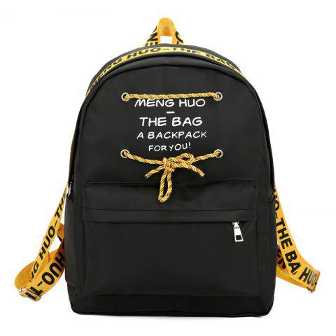 Letter Print String Backpack - YELLOW
