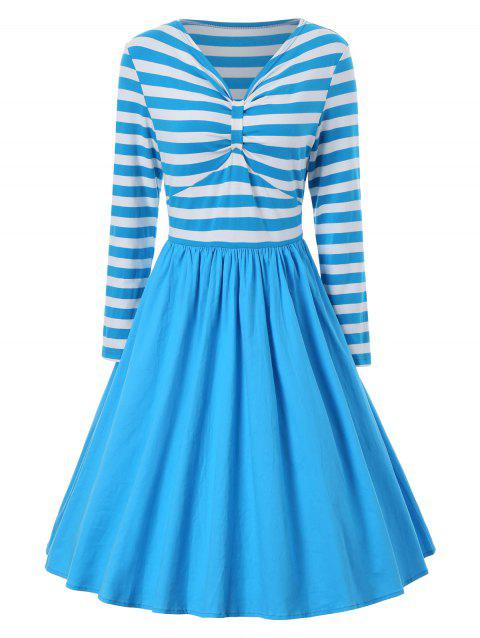A Line Striped Vintage Dress - BLUE M