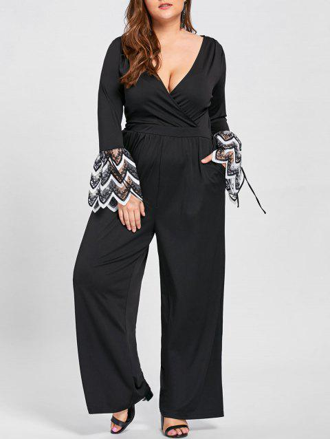 Plus Size Lace Cuff Low Cut Jumpsuit - BLACK 3XL