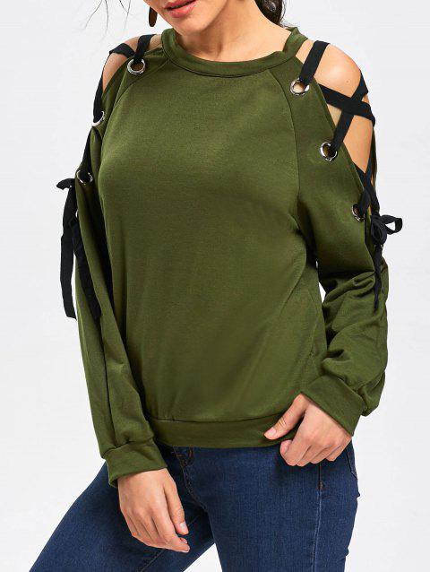 Raglan Sleeve Lace Up Pullover Sweatshirt - ARMY GREEN M