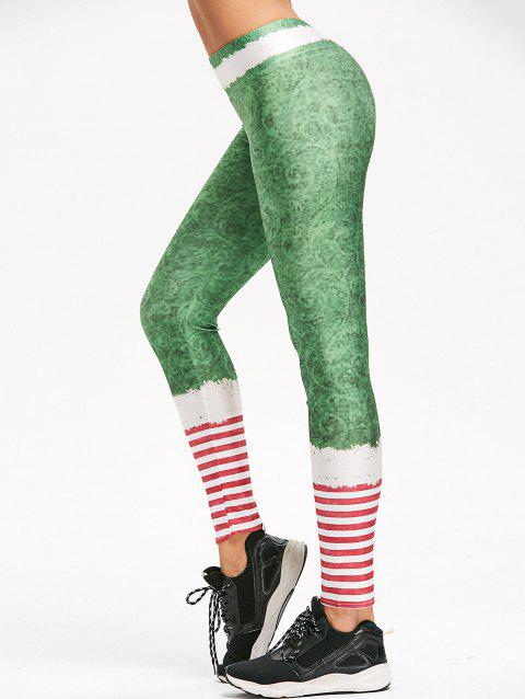 Christmas Striped Belt Print Leggings - GREEN L