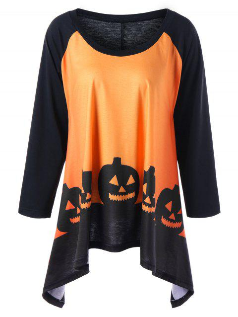 T-shirt Grande Taille Imprimé Citrouille Halloween - Orange Jaune 5XL