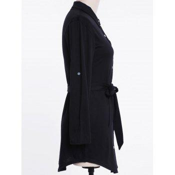 Shirt Collar Long Sleeve Pleated Plus Size Dress - BLACK 3XL