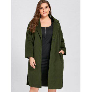 Plus Size Slit Belted Wool Blend Trench Coat - ARMY GREEN ARMY GREEN