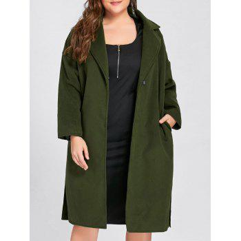 Plus Size Slit Belted Wool Blend Trench Coat - ARMY GREEN 4XL