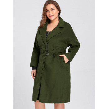 Plus Size Slit Belted Wool Blend Trench Coat - 4XL 4XL