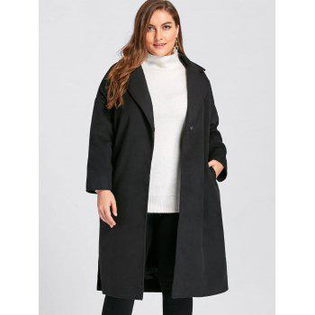 Plus Size Slit Belted Wool Blend Trench Coat - BLACK 4XL