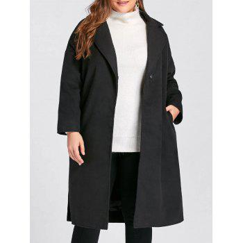 Plus Size Slit Belted Wool Blend Trench Coat - BLACK BLACK