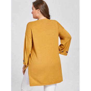 Plus Size Side Slit High Low Sweater - GINGER ONE SIZE