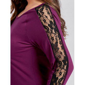 Plus Size Lace Panel Raglan Sleeve Tee - ROSE RED XL