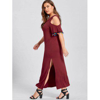 Plus Size Cold Shoulder Pom Slit Maxi Dress - WINE RED WINE RED