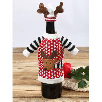 Christmas Cartoon Elk Sweater Wine Bottle Cover - RED 1 SET