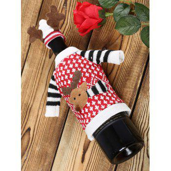 Christmas Cartoon Elk Sweater Wine Bottle Cover - RED RED