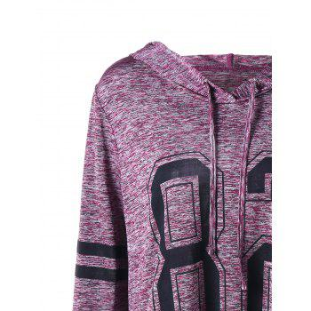 Plus Size Marled Tunic Hoodie - PURPLISH RED 4XL