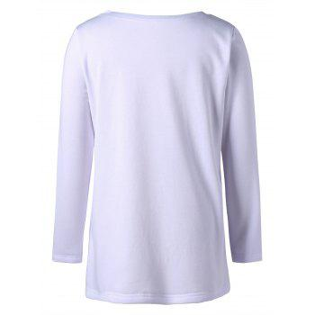 Plus Size Skull Long Sleeve T-shirt - WHITE WHITE