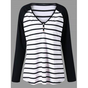 Plus Size Striped Raglan Sleeve Jersey T-shirt - BLACK STRIPE BLACK STRIPE