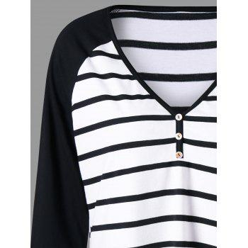 Plus Size Striped Raglan Sleeve Jersey T-shirt - BLACK STRIPE 5XL