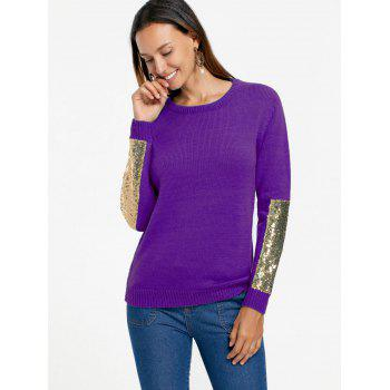 Sequin Panel Pullover Knit Sweater - PURPLE M