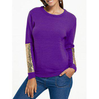 Sequin Panel Pullover Knit Sweater - PURPLE PURPLE