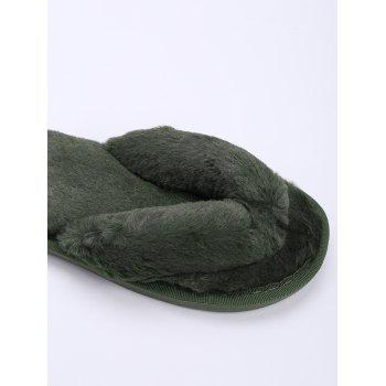 Flat Heel Faux Fur Flip Flop - BLACKISH GREEN BLACKISH GREEN