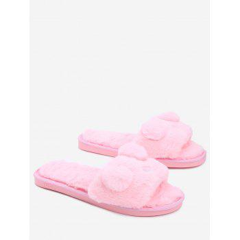 Open Toe Pom Pom Furry Slippers - PINK PINK